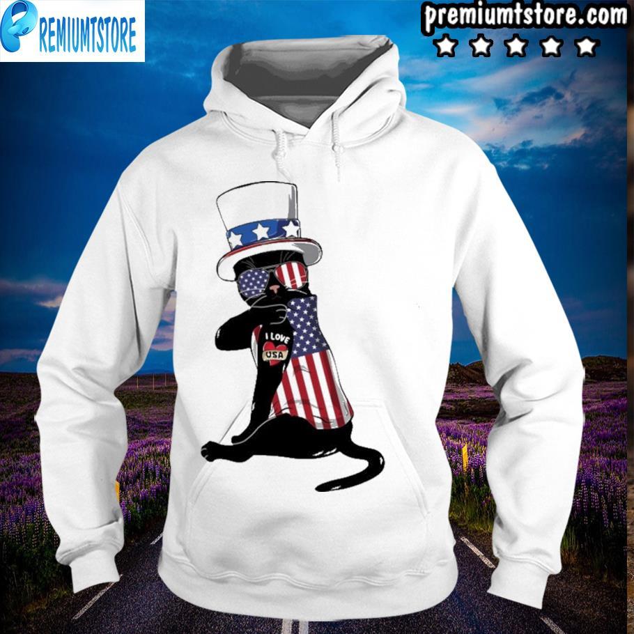 Cat I love american flag s hoodie-white