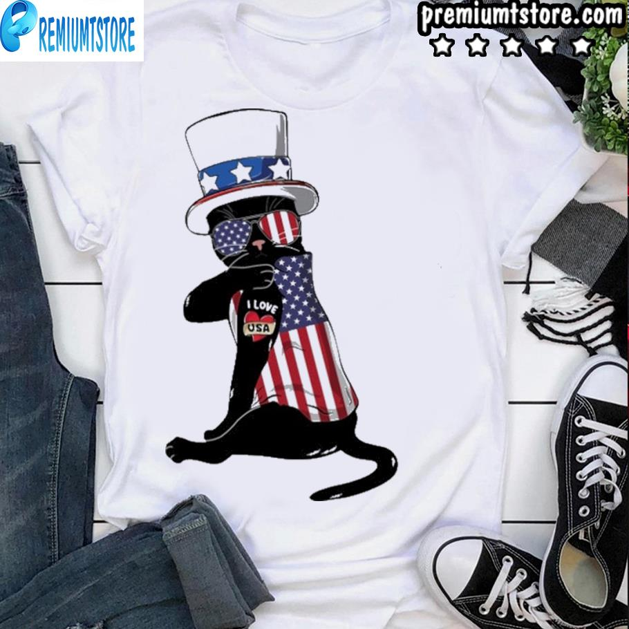 Cat I love american flag shirt