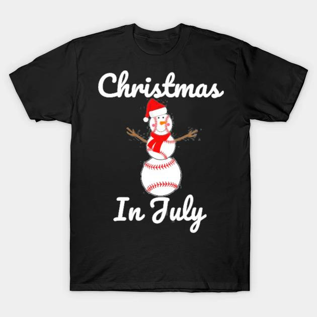 Christmas in july baseball snowman santa hat summer 2021 shirt