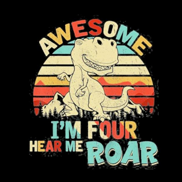 Kids I'm four hear me roar dinosaur birthday boy 4 years old preview
